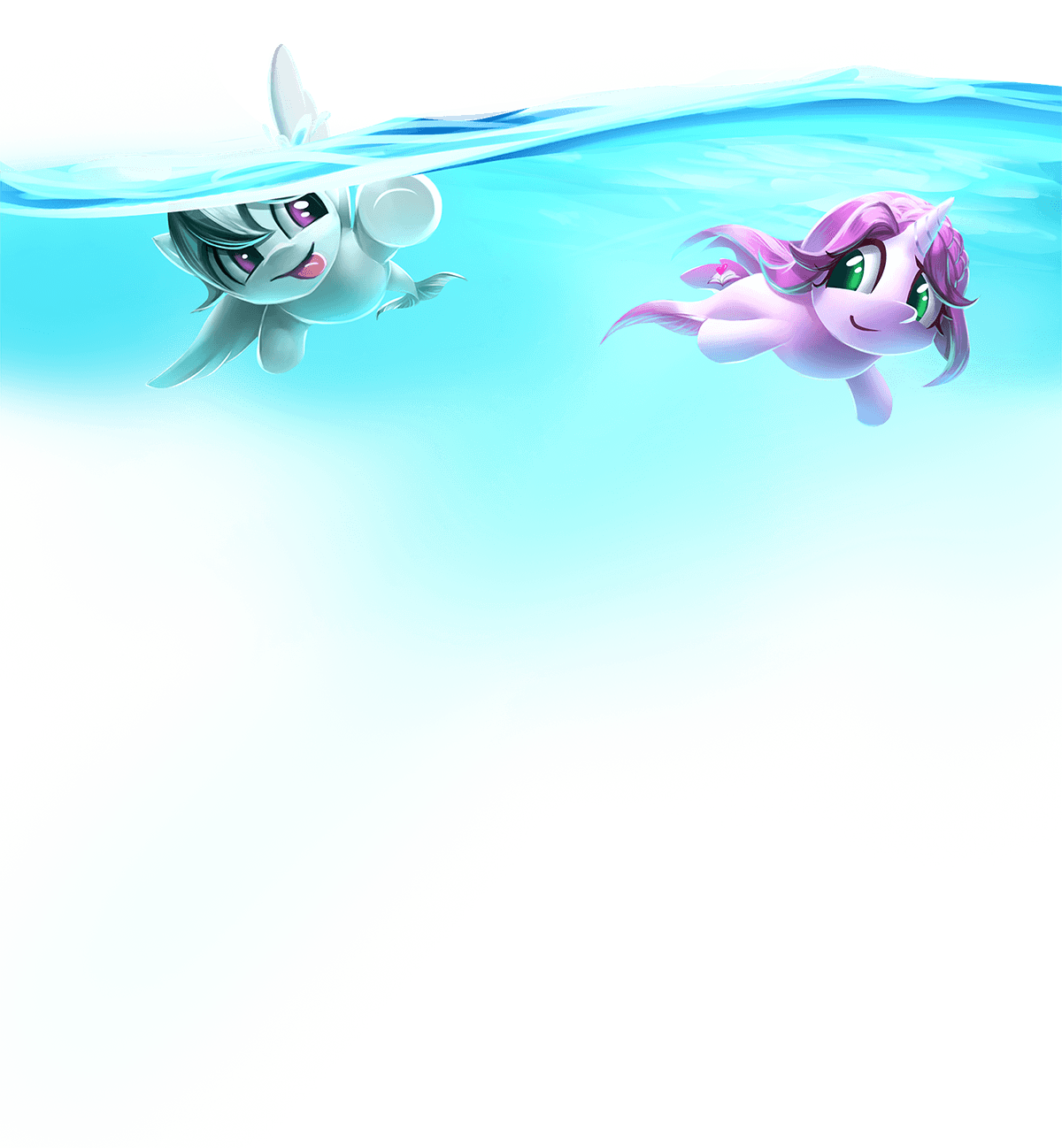 Two of our young mascot ponies, Sharp Focus and Novella, are swimming together beneath the surface of the ocean